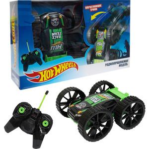 Машина РУ 1Toy Hot Wheels Трюковая-перевёртыш, 27MHz, вращение на 360°, со светом, с АКБ, чёрно-зелёная (Т10978)
