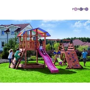 Набор для игровой площадки PAREMO детский домик с песочницей, тентом, горкой и 2мя качелями PS217