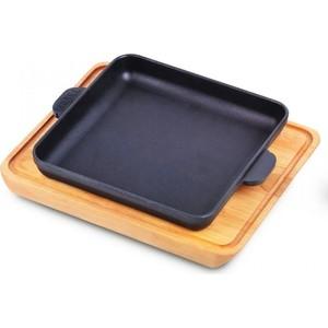 Сковорода квадратная 18 см с дощечкой Brizoll Horeca (Н181825-Д)