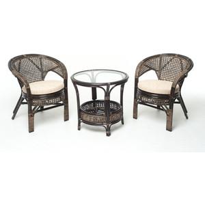 Комплект для отдыха Vinotti 02/15, 2 кресла+стол темный коньяк