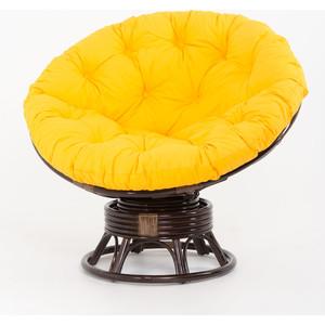 Кресло-качалка Vinotti Papasan 23/01В темный коньяк желтая подушка