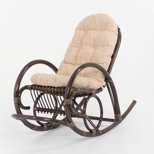 Кресло-качалка с подушкой Vinotti 05/04B TS рогожка темный коньяк