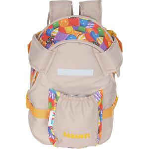 Рюкзак кенгуру Pituso Caramel цвет бежевый/принт карамелька от 1 до 10 месяцев 201501