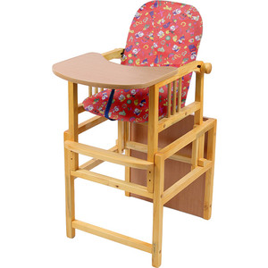 Стул-стол для кормления МЕГА ДОМ Слоник регулируемая спинка Красный с-1 кр