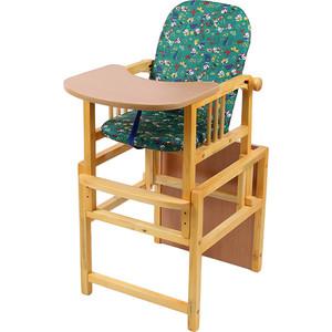 Стул-стол для кормления МЕГА ДОМ Слоник регулируемая спинка Зеленый с-1 зл