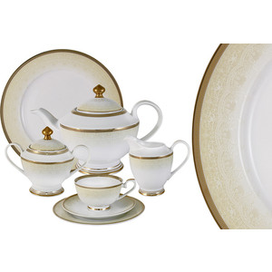 Чайный сервиз 42 предмета на 12 персон Midori Вуаль кремовая (MI2-K6981-Y3/42-AL)