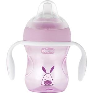 Поильник Chicco Transition Cup (силиконовый носик), 1 шт , 4 мес+, 200 мл, розовый, 340624011