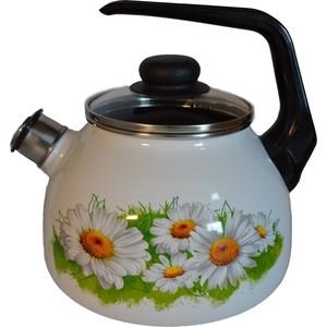 Чайник эмалированный со свистком 3.0 л СтальЭмаль Ромашки лето (4с209я)