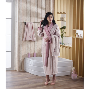 Набор халат с полотенцем Karna махровый Adra L/XL пудра (2739/CHAR009)