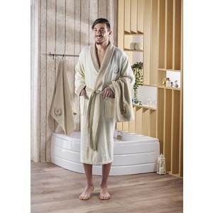 Набор халат с полотенцем Karna махровый Adra L/XL кремовый (2739/CHAR007)
