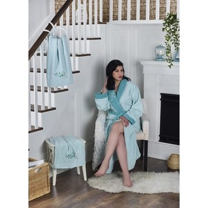 Набор халат с полотенцем Karna махровый Adra L/XL ментол (2739/CHAR008)