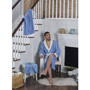 Набор халат с полотенцем Karna махровый Adra 2XL голубой (2740/CHAR006)