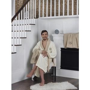 Набор халат с полотенцем Karna махровый Adra 2XL кремовый (2740/CHAR007)