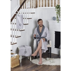 Набор халат с полотенцем Karna махровый Adra 3XL серый (2741/CHAR008)
