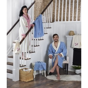 Набор семейный халат с полотенцем Karna махровый Adra голубой-кремовый (2746/CHAR002)