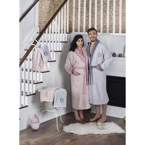 Набор семейный халат с полотенцем Karna махровый Adra серый-пудра (2746/CHAR006)