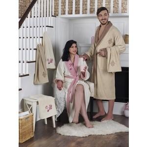 Набор семейный халат с полотенцем Karna махровый Adra бежевый-кремовый (2746/CHAR001)