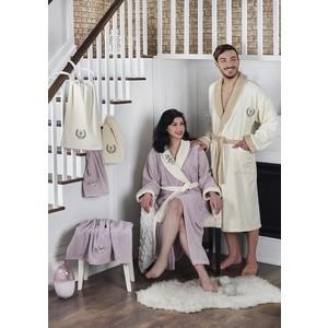 Набор семейный халат с полотенцем Karna махровый Adra кремовый-светло-лаванда (2746/CHAR003)