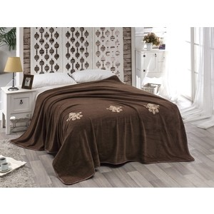 Покрывало Karna вельсофт с вышивкой Damask 160x220 коричневый (2009/CHAR004)