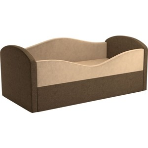 Детская кровать АртМебель Сказка вельвет бежевый+коричневый