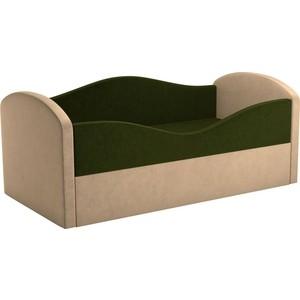 Детская кровать АртМебель Сказка вельвет зеленый+бежевый