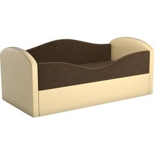 Детская кровать АртМебель Сказка вельвет коричневый+экокожа бежевый