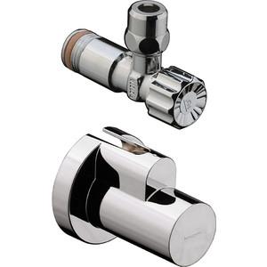 Вентиль Hansgrohe угловой с кожухом хром (13954000) вентиль термостатический угловой 1 2 valteс