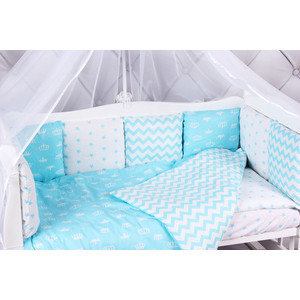 Борт в кроватку AmaroBaby 12 предметов (12 подушек-бортиков) ROYAL BABY (бязь, бирюзовый)