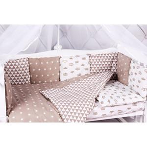 Борт в кроватку AmaroBaby 12 предметов (12 подушек-бортиков) ROYAL BABY (бязь, коричневый)
