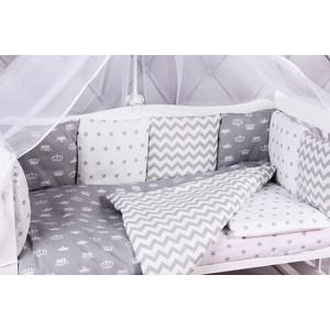 Борт в кроватку AmaroBaby 12 предметов (12 подушек-бортиков) ROYAL BABY (бязь, серый)