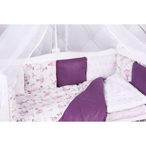 Борт в кроватку AmaroBaby 12 предметов (12 подушек-бортиков) АМЕЛИ (бязь, вишня/белый)