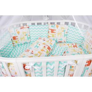Борт в кроватку AmaroBaby 12 предметов (12 подушек-бортиков) ЖИРАФИКИ (поплин)