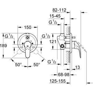 Смеситель для ванны Grohe Euroeco встраиваемый включает встроенный механизм (32747000) от ТЕХПОРТ