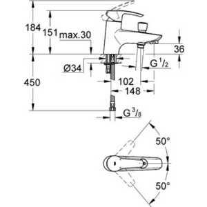 Смеситель для ванны Grohe Eurostyle на одно отверстие на борт ванны (33614001) от ТЕХПОРТ