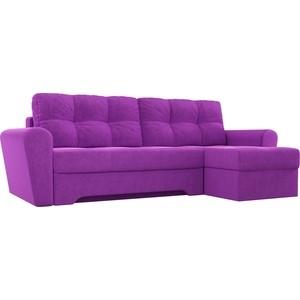Диван угловой АртМебель Амстердам микровельвет фиолетовый правый угол