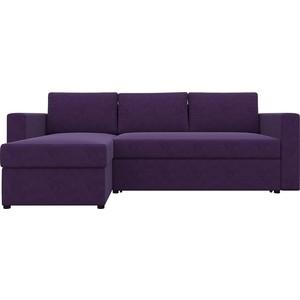 Диван угловой АртМебель Турин микровельвет фиолетовый левый угол