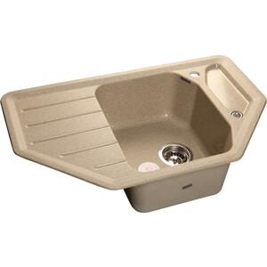 Мойка кухонная GranFest гранит угловая 800x500 (Gf-C800E песок) мойка кухонная granfest гранит 565x510 gf q560 песок